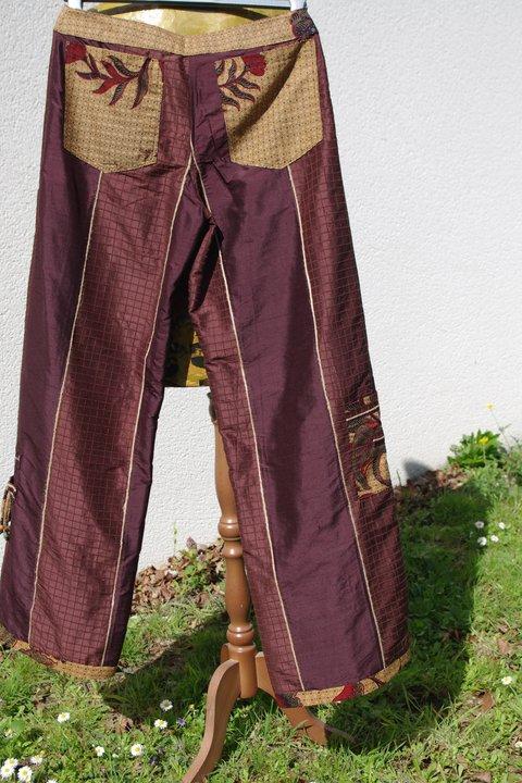 Pantalon soie chocolat de Dos T40