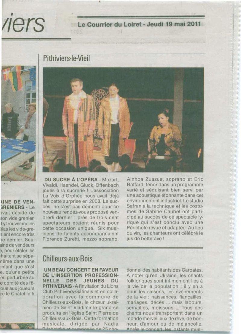 Le Courrier du Loiret La voix d'orphée 13 Mai 2011