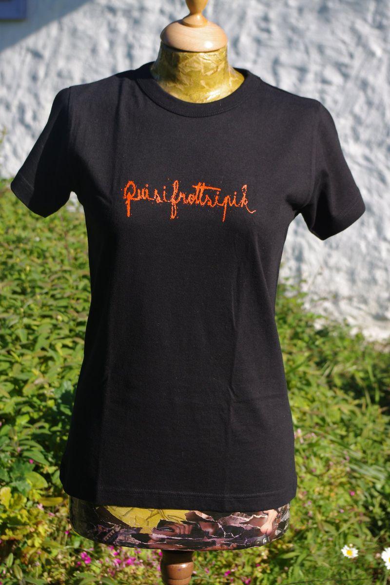 T-Shirt noir femme compressé
