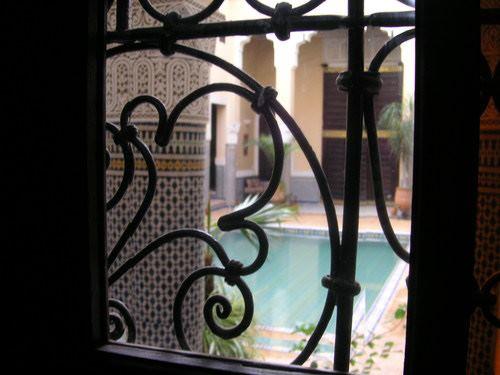 Vue de mon lit au Riad Baraka